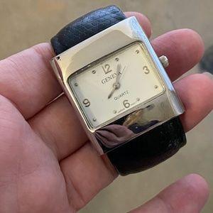Geneva Leather Cuff Watch! NEW BATTERY Square VTG